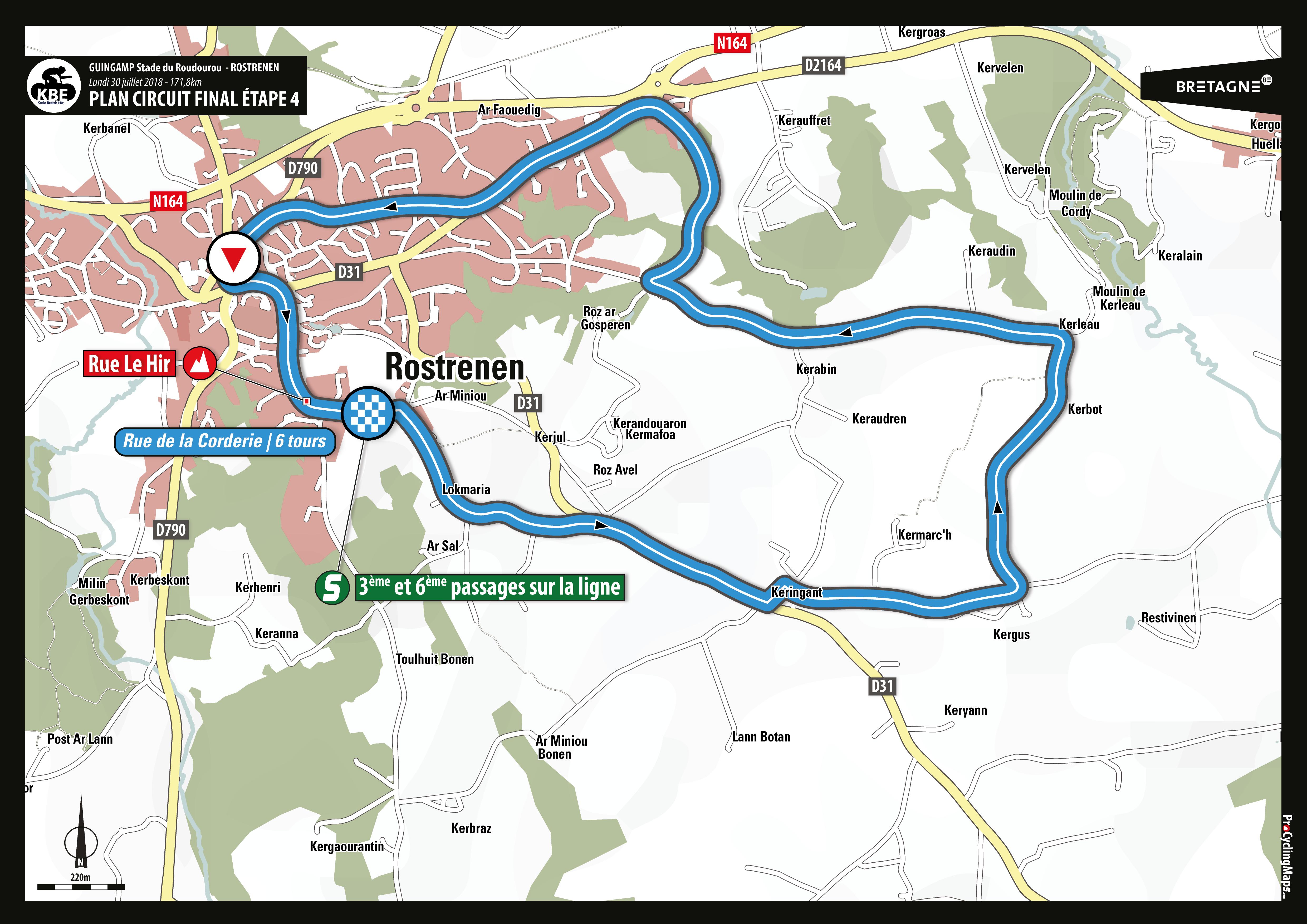 KBE2018 - Plan arrivée circuit final E4 - Rostrenen